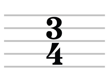 Black Flat Isolated Musical Symbol of Three-four time (Three-quarter time) Ilustrace