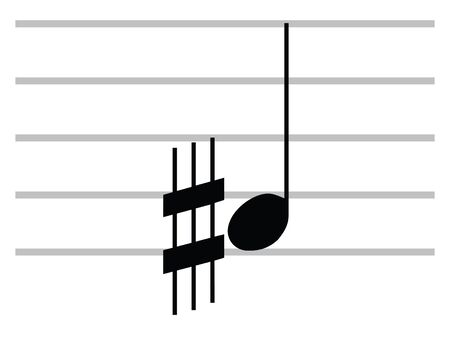 Black Flat Isolated Musical Symbol of Sharp-and-a-half (Sesquisharp)