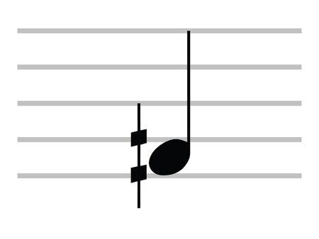 Black Flat Isolated Musical Symbol of Demisharp Ilustração