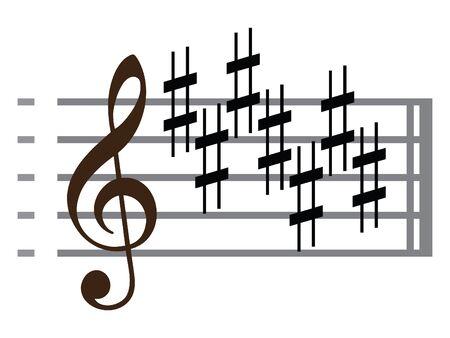 Black Flat Isolated Musical Symbol of Sharp Key Signature