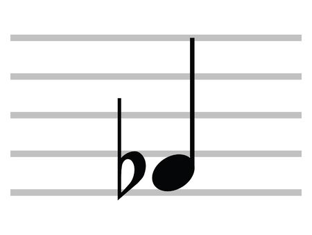 Black Flat Isolated Musical Symbol of Flat