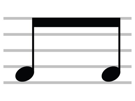 Black Flat Isolated Musical Symbol of Beamed Notes Ilustrace