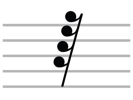 Black Flat Isolated Musical Symbol of Hemidemisemiquaver (Sixty-Fourth Rest)