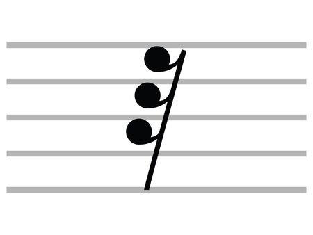 Black Flat Isolated Musical Symbol of Demisemiquaver (Thirty-Second Rest)