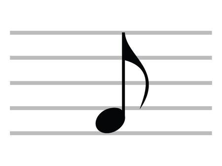 Musical Symbol of Quaver (Eighth Note) Ilustração