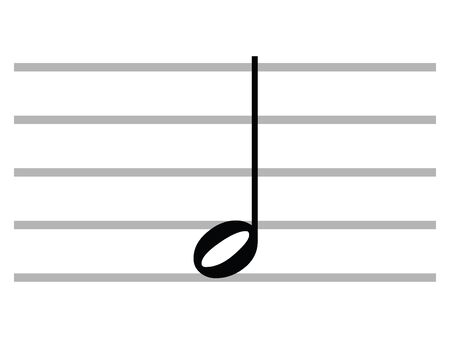 Black Flat Isolated Musical Symbol of Minim (Half Note)
