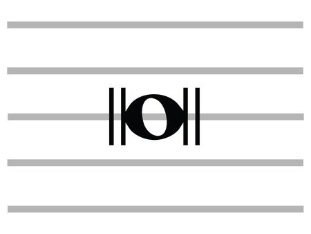 Black Flat Isolated Musical Symbol of Breve (Double Whole Note)