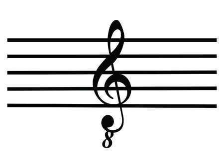 Black Flat Isolated Musical Symbol of Octave Clef