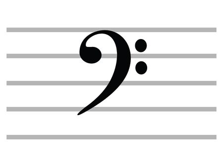 Black Flat Isolated Musical Symbol of F Clef (Bass Clef)