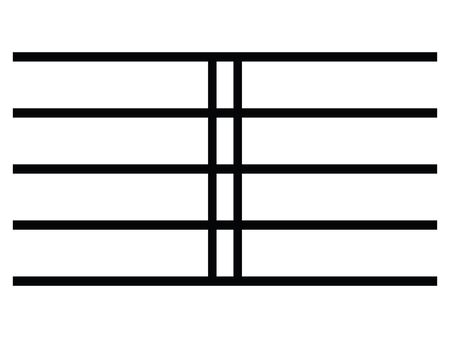 Black Flat Isolated Musical Symbol of Double Bar Line (Double Barline)