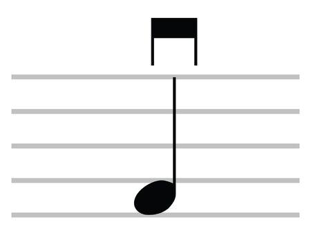 Black Flat Isolated Musical Symbol of Down Bow (Giù Arco) Ilustração