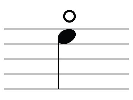 Black Flat Isolated Musical Symbol of Natural Harmonic (Open Note)
