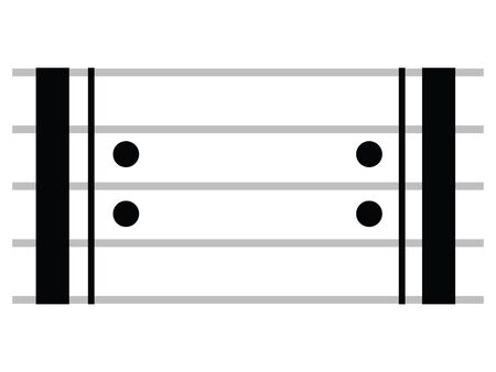 Black Flat Isolated Musical Symbol of Repeat Signs