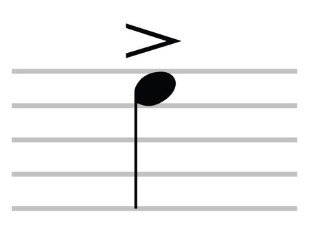 Black Flat Isolated Musical Symbol of Accent