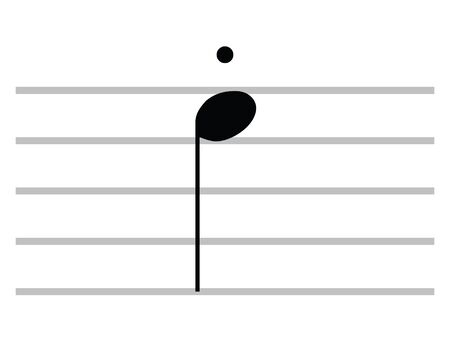 Black Flat Isolated Musical Symbol of Staccato