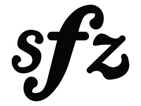 Black Flat Isolated Musical Symbol of Sforzando Ilustração