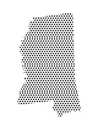 Simple Seamed Dotted Pattern Map of USA State of Mississippi Ilustrace
