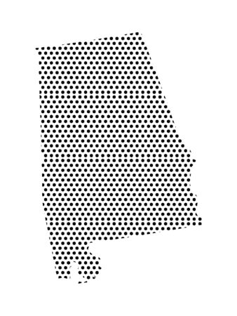 Simple Seamed Dotted Pattern Map of USA State of Alabama