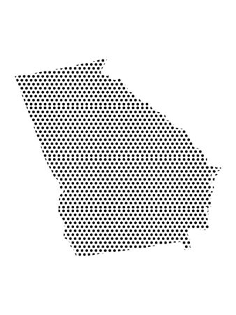 Simple Seamed Dotted Pattern Map of USA State of Georgia
