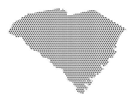 Simple Seamed Dotted Pattern Map of USA State of South Carolina