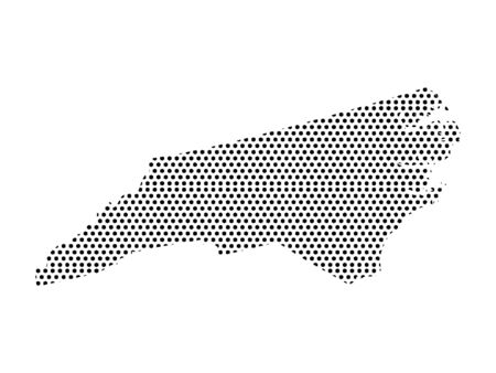Simple Seamed Dotted Pattern Map of USA State of North Carolina