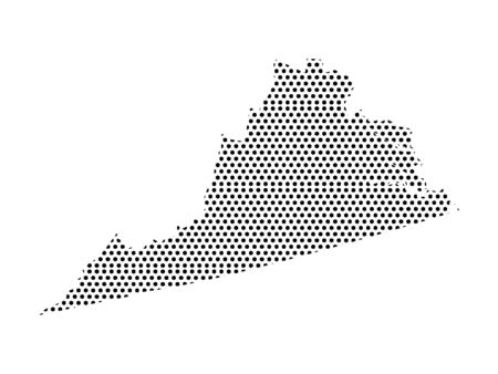 Simple Seamed Dotted Pattern Map of USA State of Virginia Ilustrace