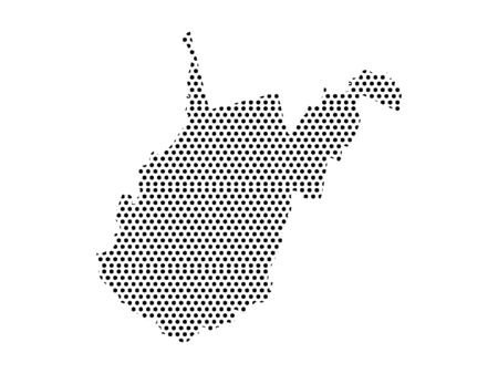 Simple Seamed Dotted Pattern Map of USA State of West Virginia