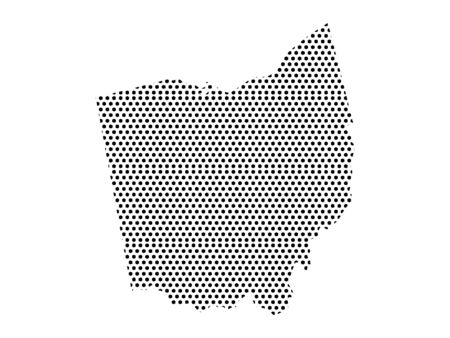 Simple Seamed Dotted Pattern Map of USA State of Ohio Ilustrace
