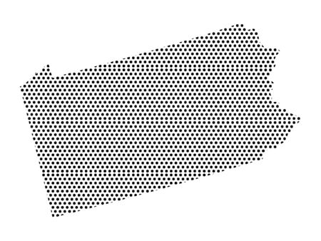 Simple Seamed Dotted Pattern Map of USA State of Pennsylvania