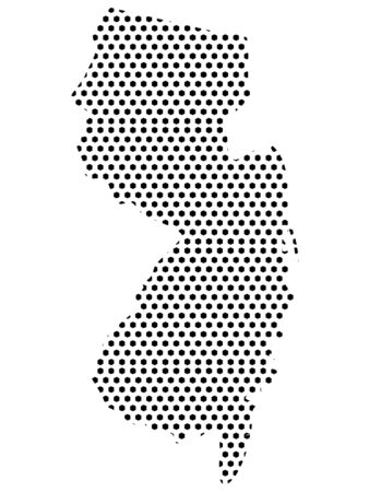 Simple Seamed Dotted Pattern Map of USA State of New Jersey Ilustrace