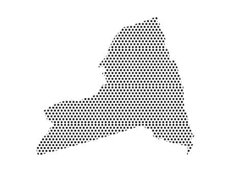Simple Seamed Dotted Pattern Map of USA State of New York