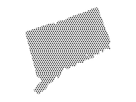 Simple Seamed Dotted Pattern Map of USA State of Connecticut