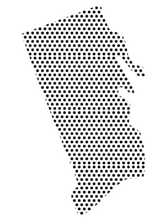 Simple Seamed Dotted Pattern Map of USA State of Rhode Island Ilustrace