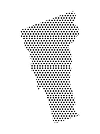 Simple Seamed Dotted Pattern Map of USA State of Vermont