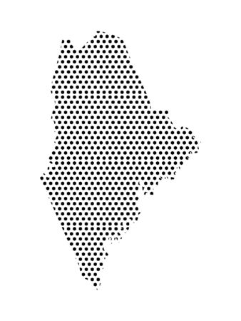 Simple Seamed Dotted Pattern Map of USA State of Maine Ilustrace