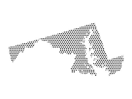 Simple Seamed Dotted Pattern Map of USA State of Maryland