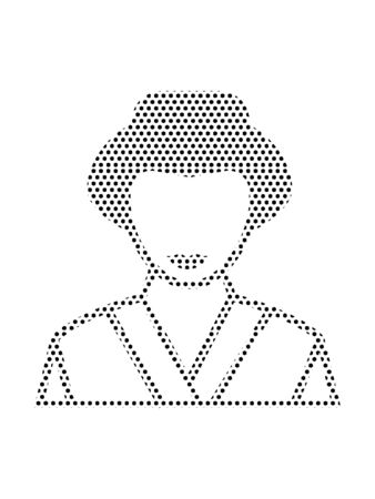 Simple Seamed Dotted Pattern Illustration of Japanese Geisha Çizim