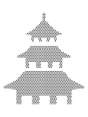 Simple Seamed Dotted Pattern Illustration of Japanese Pagoda Temple