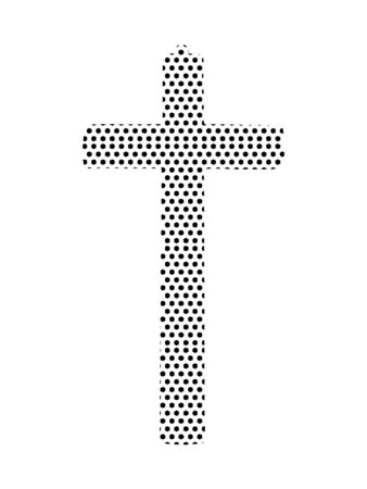 Simple Seamed Dotted Pattern Symbol of Stylized Christian Cross