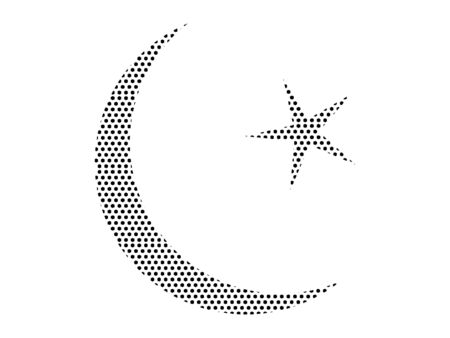 Simple Seamed Dotted Pattern Symbol of Muslim Crescent Moon Ilustração