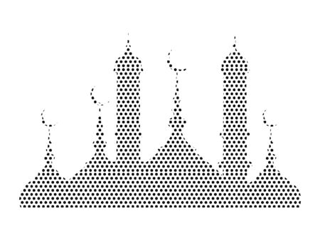 Simple Seamed Dotted Pattern Symbol of Muslim Mosque Panorama