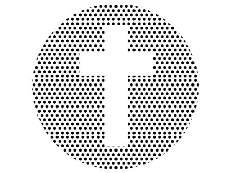 Simple Seamed Dotted Pattern Symbol of Christian Cross