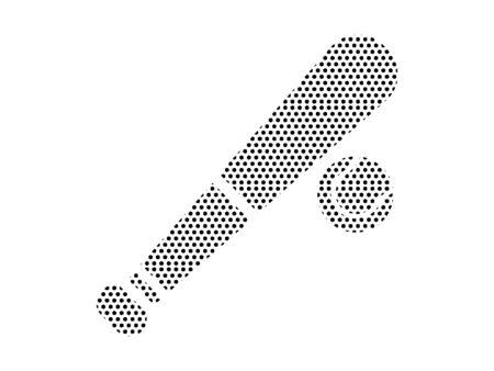 Simple Seamed Dotted Pattern Symbol of Baseball Bat Ilustração