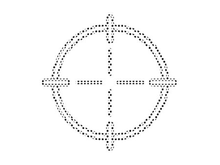 Simple Seamed Dotted Pattern Symbol of Cross-hair Reticle