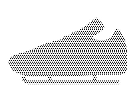 Simple Seamed Dotted Pattern Symbol of Ice Skating Shoe