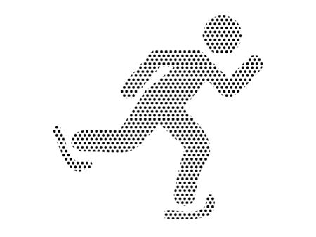 Simple Seamed Dotted Pattern Symbol of Ice Skater