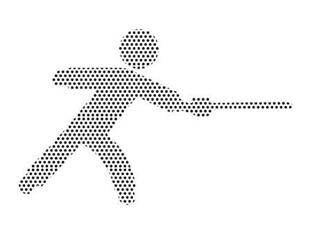 Simple Seamed Dotted Pattern Symbol of Fencer Ilustração