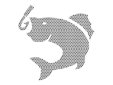 Simple Seamed Dotted Pattern Symbol of Fishing Hook with Fish