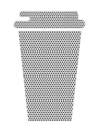 Simple Seamed Dotted Pattern Symbol of Coffee-to-go Cup Stock fotó - 137881837