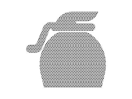 Simple Seamed Dotted Pattern Symbol of Instant Coffee Pot Illusztráció